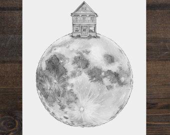 Illustration print a House on the Moon 8 x 10