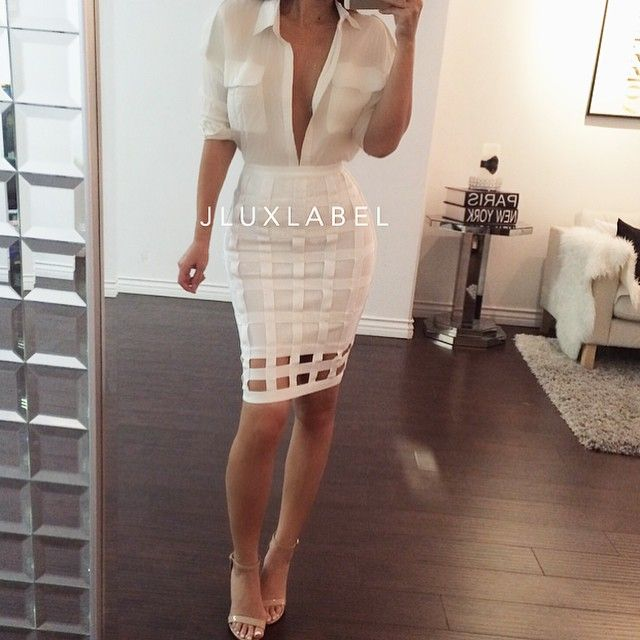 Cage Bandage Skirt   now available in Black and White