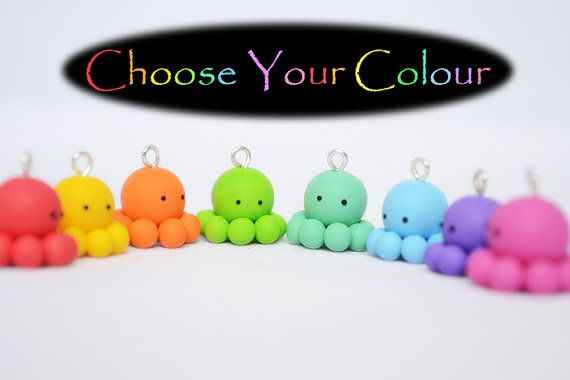 Cute Octopus Charm  Kawaii Polymer Clay Octopus by Linnypigs, $5.20