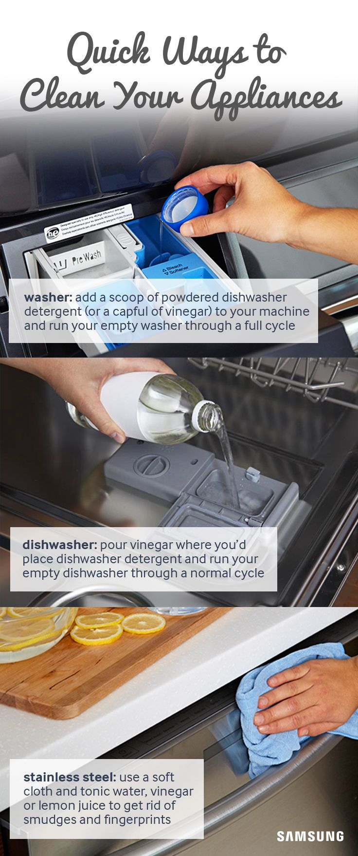 Learn how to conquer household chores like polishing stainless steel appliances and removing odors from washers with these helpful tips from the experts at Samsung.