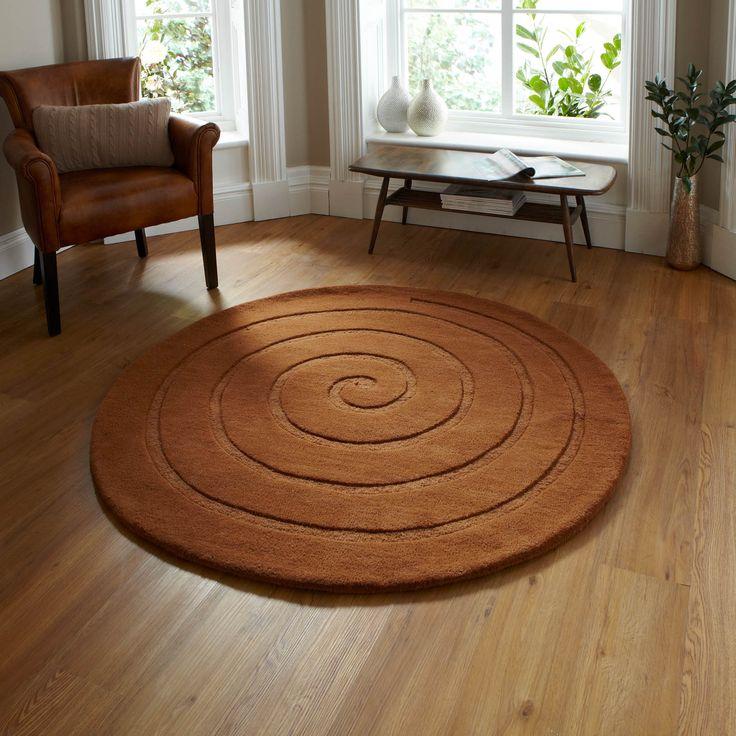 spiral circular wool rugs in chocolate