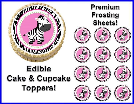 Sweet zebra print zebra first birthday baby shower edible for Animal print edible cake decoration