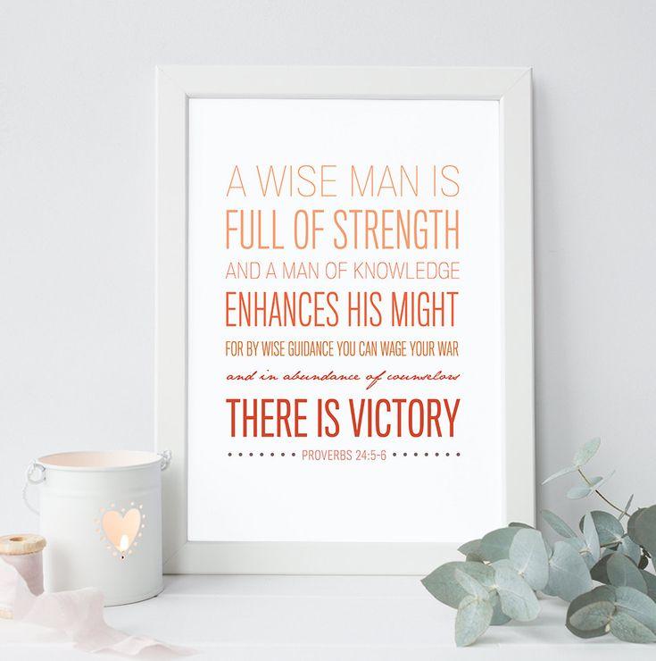 Proverbs 24:5-6 Bible Verse Art Scripture by ThePaperMountainCo