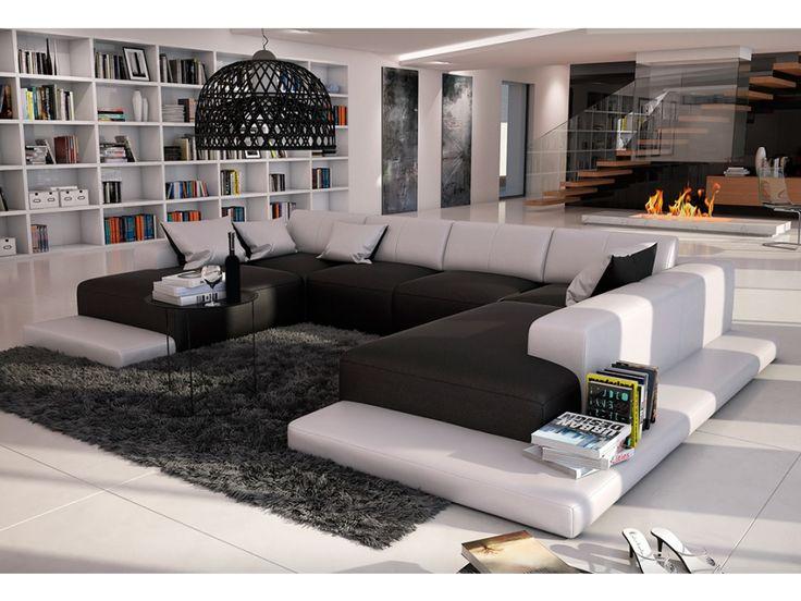 canap panoramique places en simili scosy bicolore blanc et anthracite prix promo canap vente