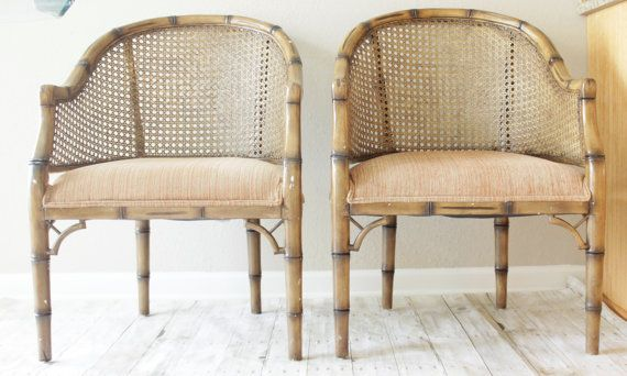 Reserved Lisa Faux Bamboo Barrel Cane Armchair Chinoiserie