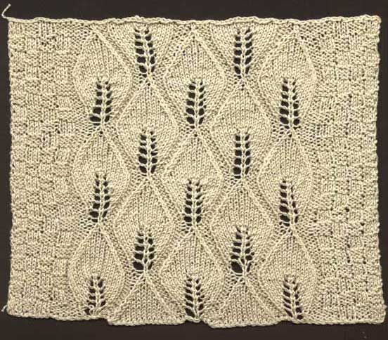 Knitting Pattern Leaf Motif : Free knitting pattern for a Victorian counterpane knit in strips with chequer...