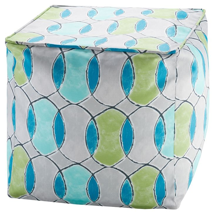 Madison Park 3M Scotchgard Outdoor Pouf, Multicolor