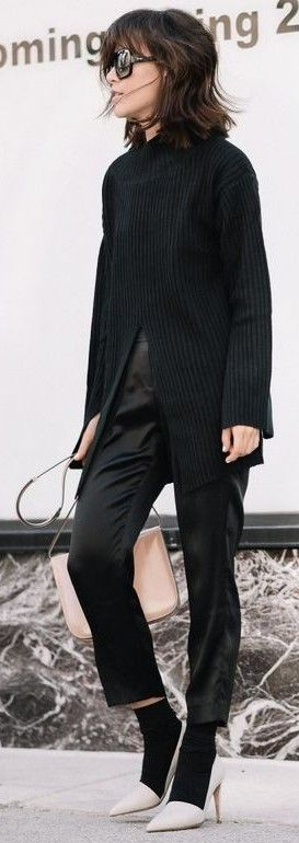 #allblackeverything #spring #style #outfit #ideas | All Everything Black + Grey Pointy Mid heels | Z Hours