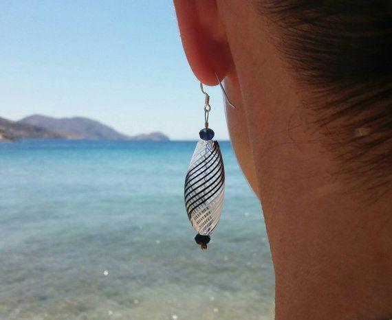 Blown glass earrings Teardrop earrings Murano earrings by BeadABoo