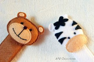 felt bookmarks - teddy and zebra