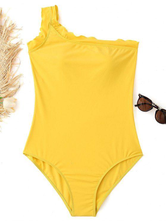 27b3720e3cc06 One Shoulder Plus Size Bathing Suit - YELLOW XL