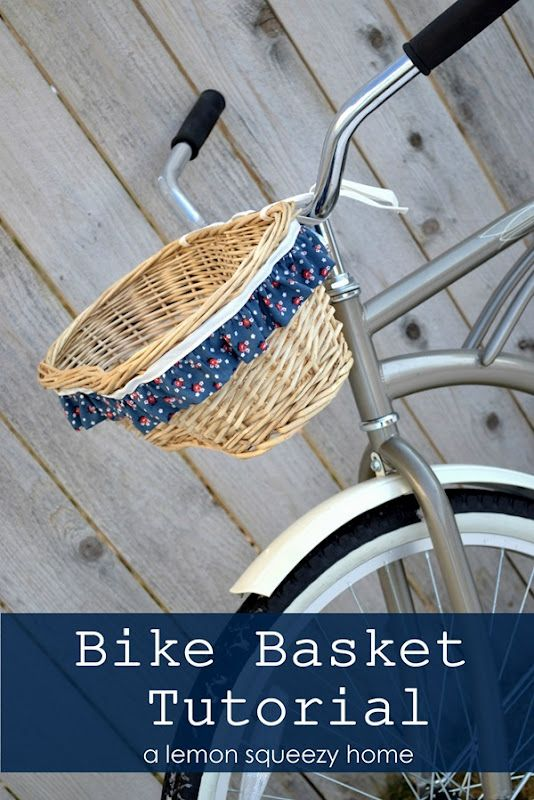 Bike Basket Tutorial - @Laura Webb - I think your pink beach cruiser needs one!  But with the basket spray painted pink or white, of course....: Bicycles Baskets, Riding A Bike, Diy Tutorials, Lemon Squeezi, Bike Baskets, Baskets Tutorials, Beaches Cruiser, Diy Projects, Bike Accessories