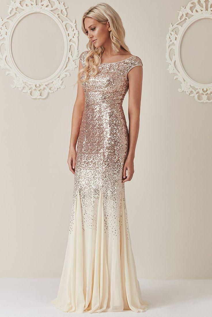 Stephanie Pratt – Sequin and Chiffon Maxi Dress - Champagne