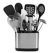 """OXO 15-Piece Everyday Kitchen Tool Set. The OXO Good Grips Everyday Tool Set keeps all your kitchen essentials neatly within reach. The slim-lined space-efficient stainless steel caddy stores a flexible turner, 12"""" tongs, square turner, spoon, slotted spoon, grater, swivel peeler, ice cream scoop, potato masher, can opener, 11"""" balloon whisk, spatula, meat tenderizer and 4"""" pizza wheel."""