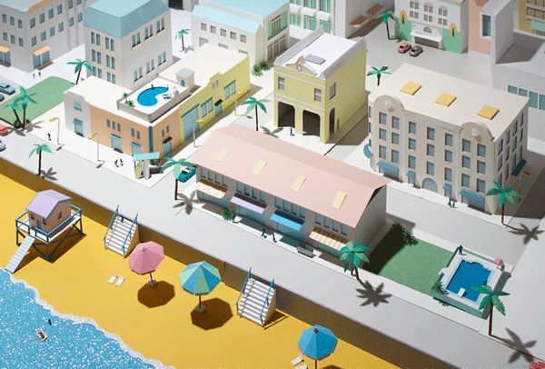 Miami on Behance by Hattie Newman - made of ALL PAPER!!!