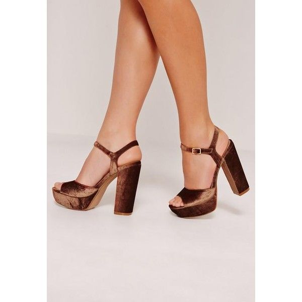 Missguided Velvet Barely There Platforms Bronze ($27) ❤ liked on Polyvore featuring shoes, sandals, copper, bronze platform shoes, bronze shoes, high heel platform sandals, platform shoes and bronze sandals