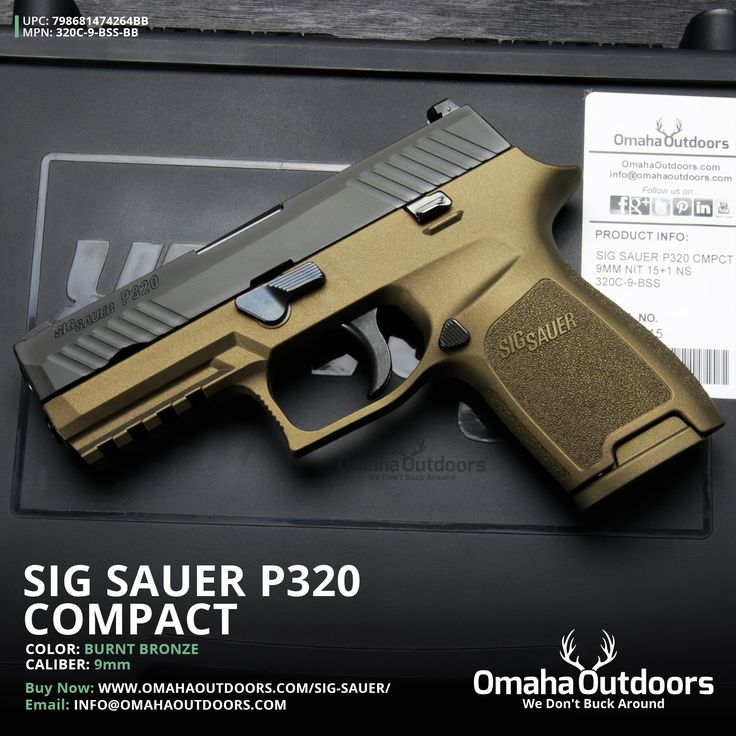 Sig Sauer P320 Compact Burnt Bronze SigLite Night Sights 9mm 15 RDS 3.9″ Handgun…