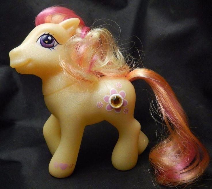 "MY LITTLE PONY Gem Blossom Jewel Pony Yellow Pink  Hair Free US Ship 5"" '04 #HASBRO"