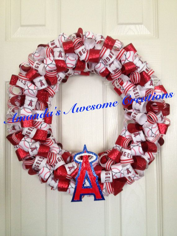 Los Angeles Angels Of Anaheim Baseball Ribbon Wreath