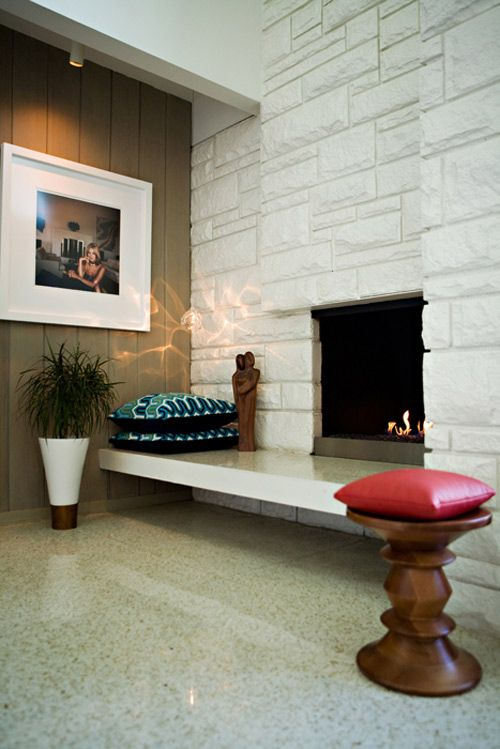 On file for: the different depth fireplace and the floating hearth. Also like the small bulkhead concealing the track lighting [Rob & Julie Maigret on DS]
