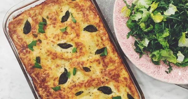 Lasagne med aubergine, crème fraîche, basilika och rött vin