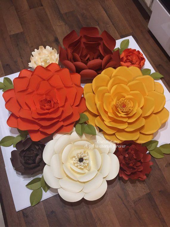 8 set-paper flowers-fall decor harvest home decor wall