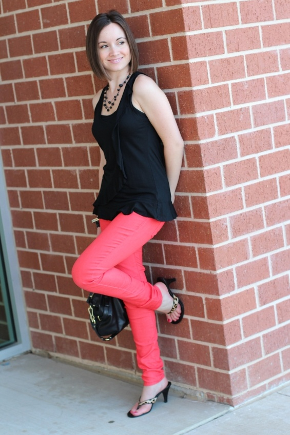 Banana Republic ruffle top; Madewell coral skinny jeans; leopard heels; Coach handbag