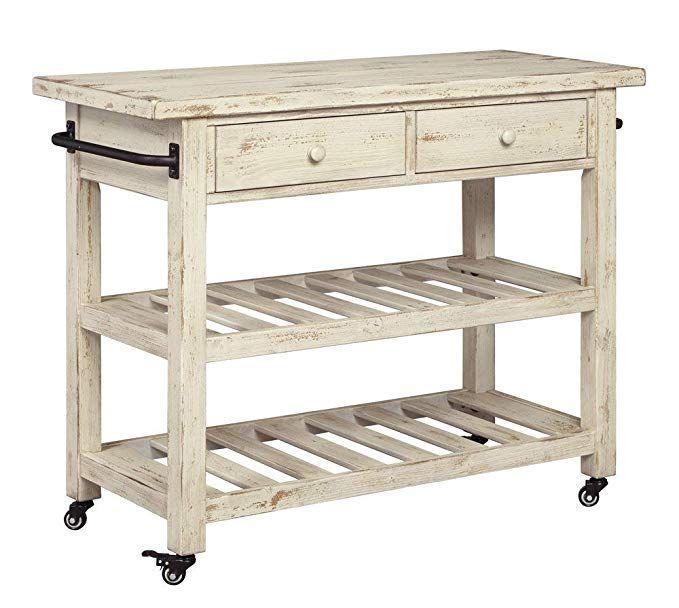 Amazon Com Signature Design By Ashley Marlijo Kitchen Cart Rustic White Home Kitchen White Kitchen Cart Kitchen Design Small Kitchen Cart