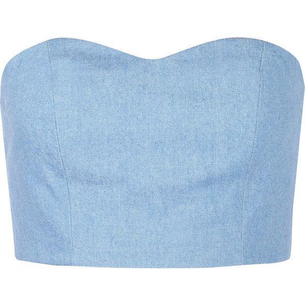 Julien David Strapless denim bustier top ($150) ❤ liked on Polyvore featuring tops, crop tops, shirts, blue, blue shirt, denim shirt, shirts & tops, denim top and light blue shirt