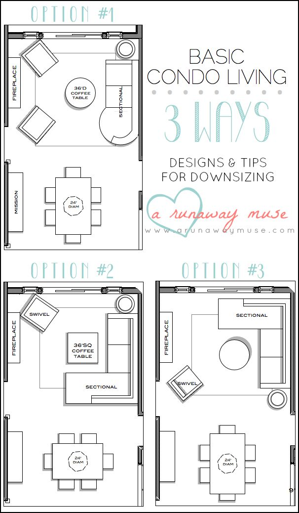 A Runaway Muse: Designs & Tips for Downsizing to Condo Living #interiordesign #condo-- room layout ideas