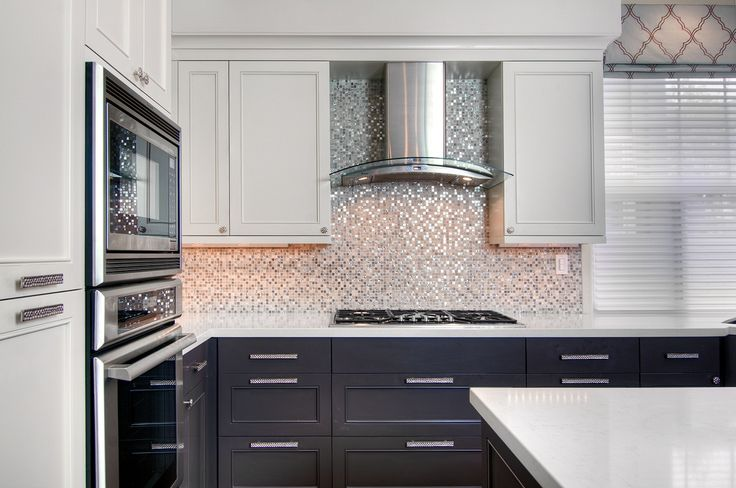 Contemporary kitchen with raised panel european cabinets for Ceramic tile under kitchen cabinets