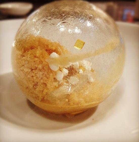 Caramel Piñata (guava cream, peanut crumble, tangerine gum, lime meringue and caramel ice cream) by Enrique Olvera at Pujol.
