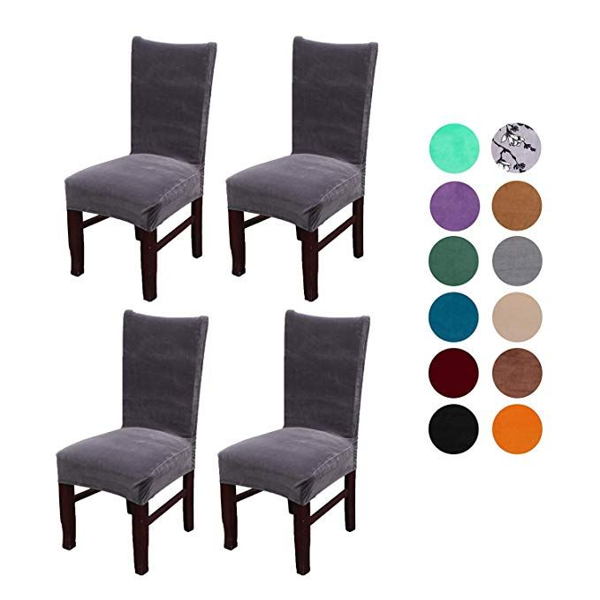 Amazon Com Velvet Spandex Stretch Dining Room Chair Cover Removable Chair Slipcovers Set Of 4pcs Peacock Blue Home Kitchen Slipcovers For Chairs Dining Room Chair Covers Dining Room Chairs