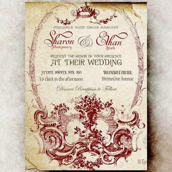 Vintage Wedding Invitation   Red Wedding Invitation, Printable Wedding  Invitation, Ornament Wedding Invitation