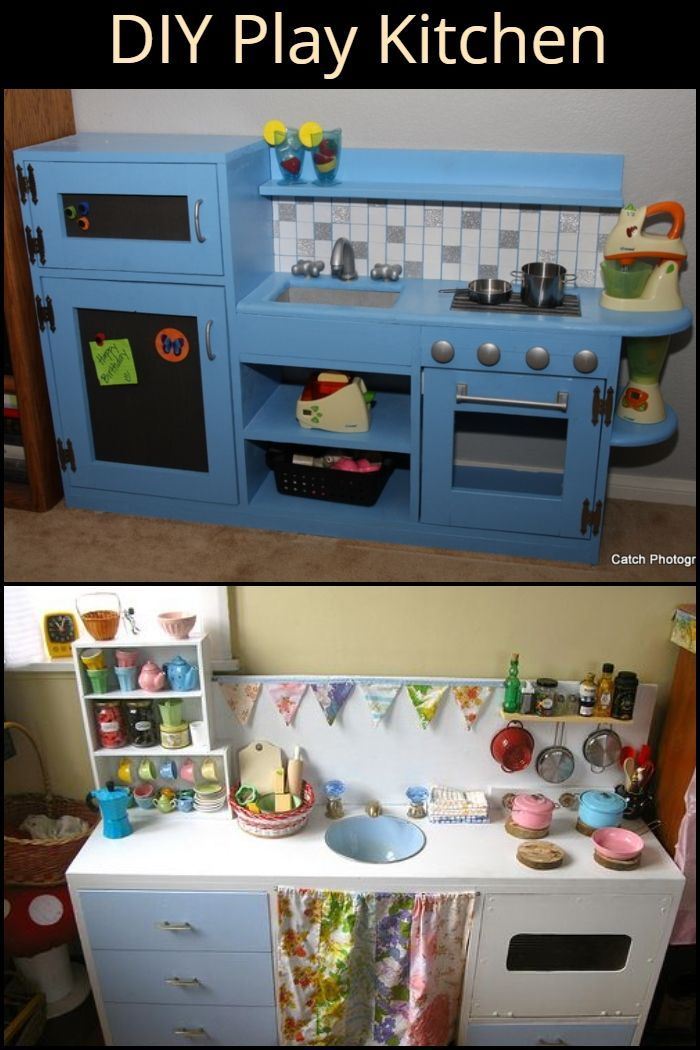 Turn an old TV cabinet into a play kitchen Building Projects