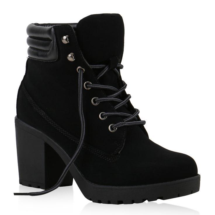 Damen-Worker-Boots-Profil-Sohle-Block-Absatz-Stiefeletten-811964
