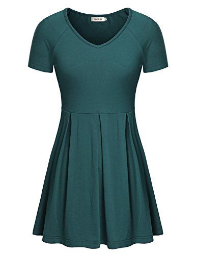 Special Offer: $23.99 amazon.com Please read the bust measurement in the product description and choose your sizesweetheart neckline,empire waits,draped hem,pleated design,flattering styleMaterial: 95% Rayon and 17% Spandex;hand wash or machine wash, recommend hand washlightweight tunic...