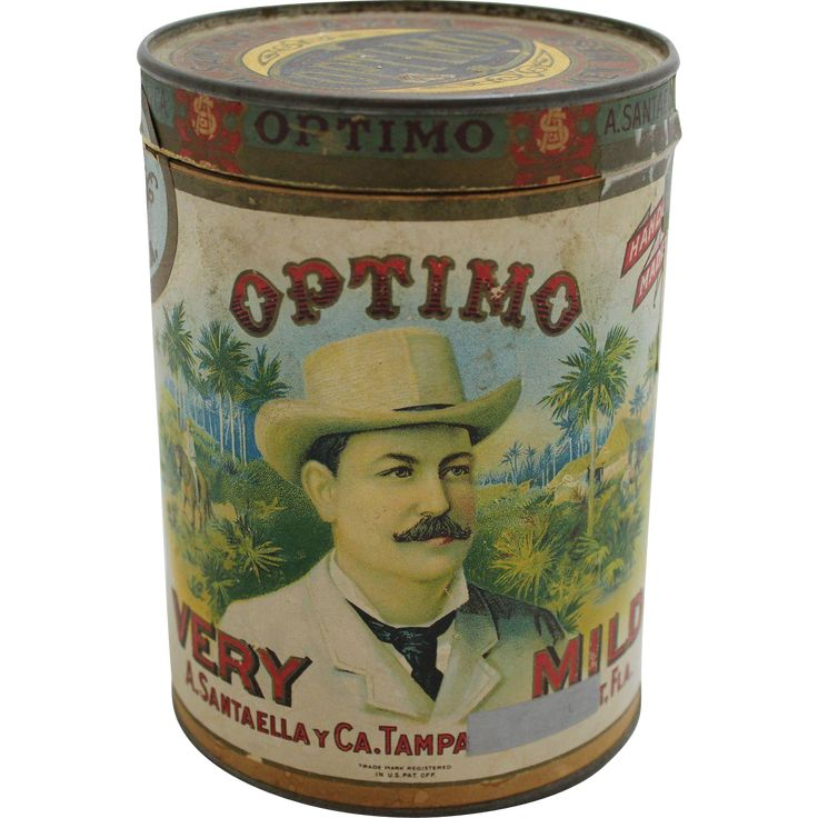 Optima Very Mild cigar container from A. Santaella y Ca.( Company) , Tampa, Fla. Key West is blocked out on the label and although it looks like a