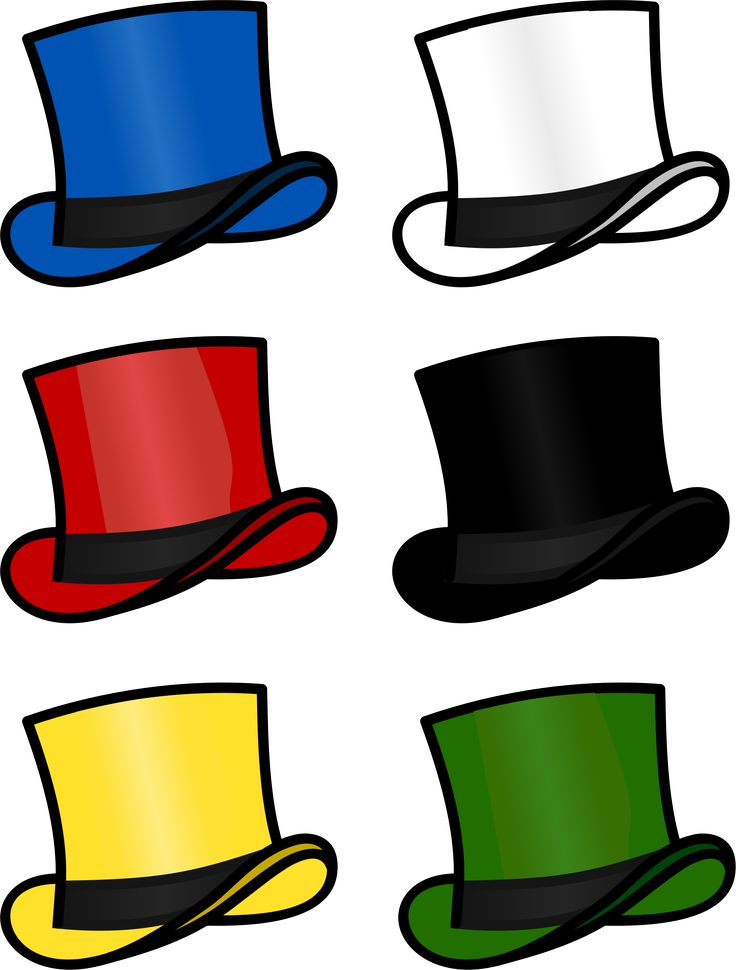 Six Thinking Hats by @cschreuders, 6 Thinking hats based on Edward de Bono. Variation on top hat by Bonzo (https://openclipart.org/detail/183610/top-hat), on @openclipart