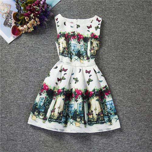 Department Name: Children Gender: Girls Dresses Length: Knee-Length Silhouette: A-Line Fit: Fits true to size, take your normal size Sleeve Length: Sleeveless Style: Lolita Style Model Number: F0054 M