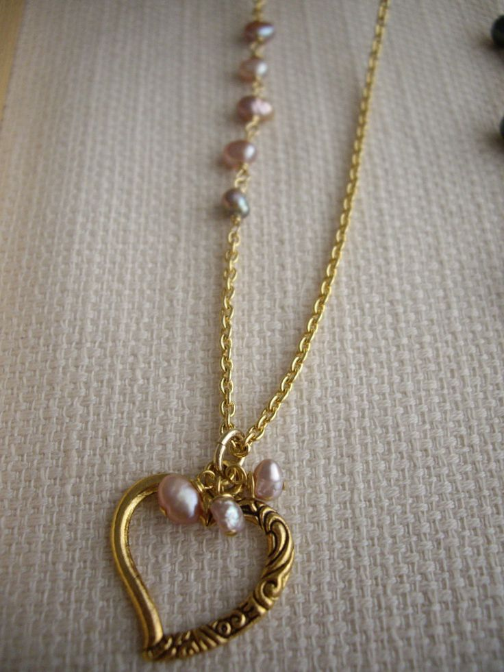Heart eye glasses holder necklace with pink pearl, For sunglasses, Reading glasses, Gold long necklace, Gift for mom granma, OOAK heart gift by yokojewelry on Etsy