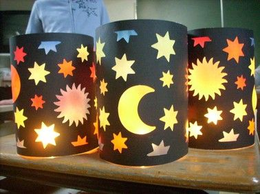 hand made lanterns in Germany ready for the Laternenlauf (lantern walk) in…