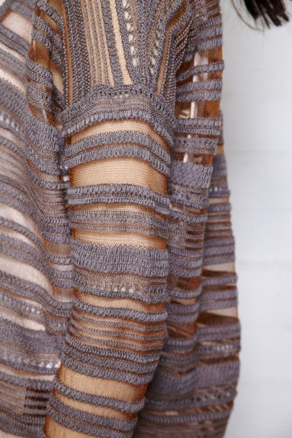 Kia Rust and Lilac Stripe Knit Cardigan