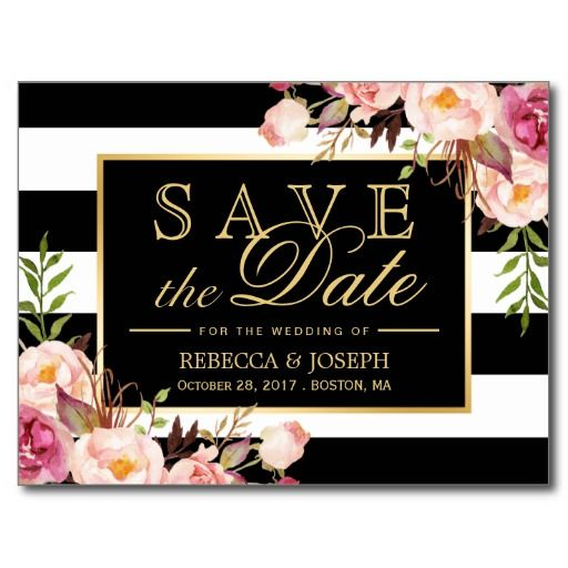 Save the Date - Gold Floral Pink Roses Black & White Stripes SAVE THE DATE Invite Announcement Invitation  #wedding