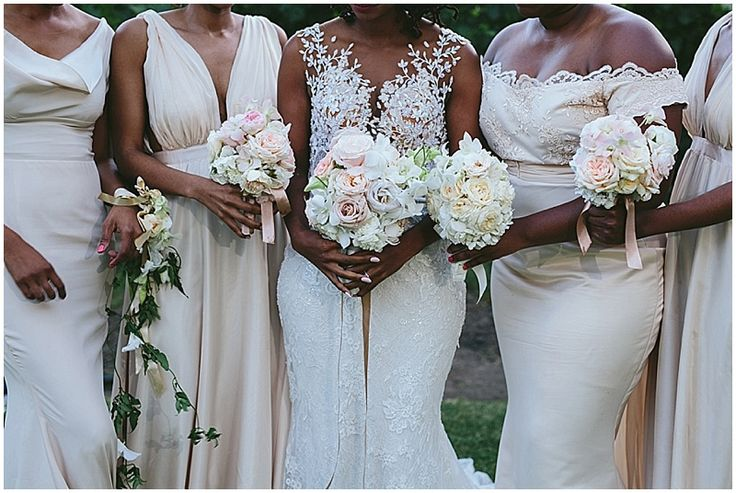 Gorgeous blush floor-length bridesmaid dresses.