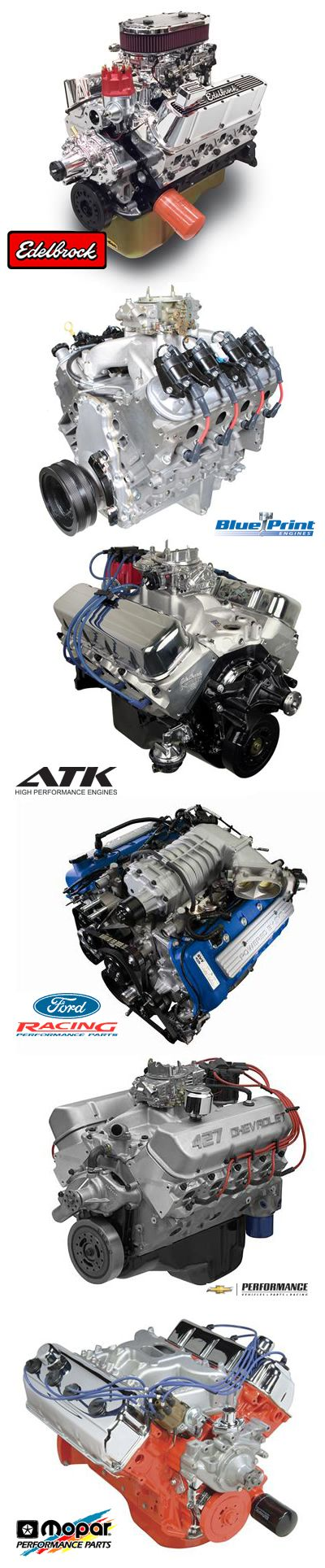 With crate engines from top brands like BluePrint Engines, Chevrolet Performance, Ford Racing, Mopar Performance, Edelbrock, and more, you are sure to find the complete long block assembly for your Chevy, Ford or Mopar. <<< repinned by www.BlickeDeeler.de | Follow us on #Facebook > www.facebook.com/BlickeDeeler