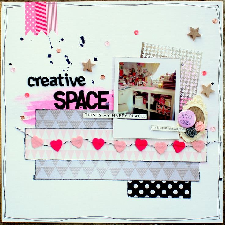 Crafty Alchemy Blog - Scrapbook layout featuring a photo of my creative space/office here at Crafty Alchemy HQ #scrapbooking
