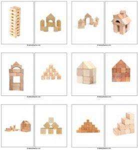 Fotokaarten voor het nabouwen met kleine blokjes. Leuk om in tweetallen mee aan …
