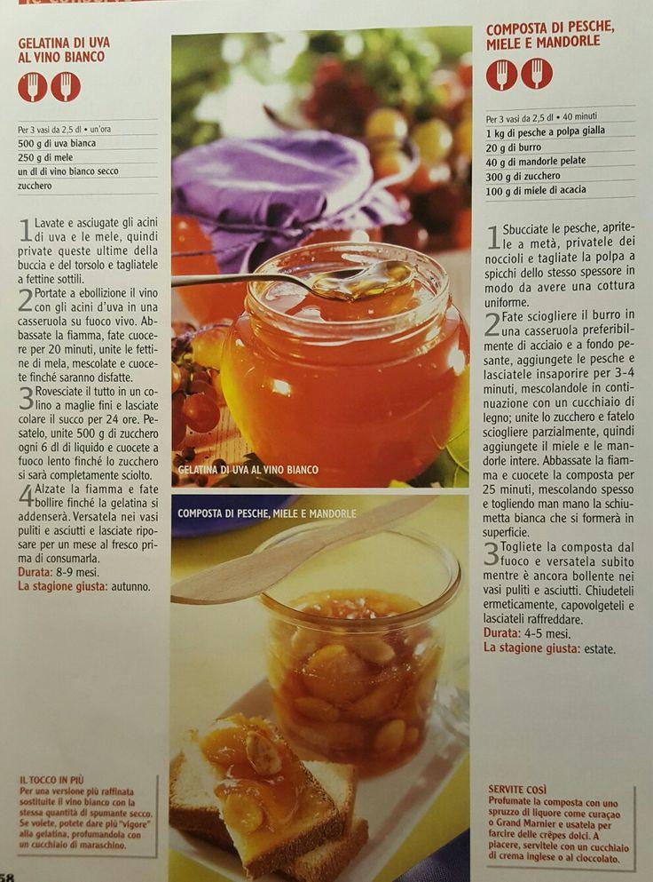 Gelatina di uva e composta di pesche e mandorle