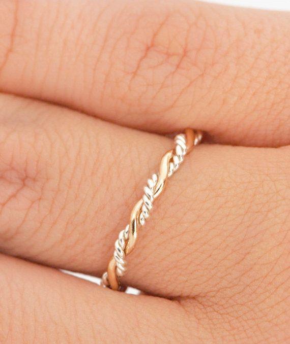 Tuerza el anillo, el amontonamiento de anillo, anillo de dos tonos, anillo de Midi, apilamiento de anillos anillo trenzado, apilador oro anillo, anillo apilable, anillo de cuerda, del pulgar anillo